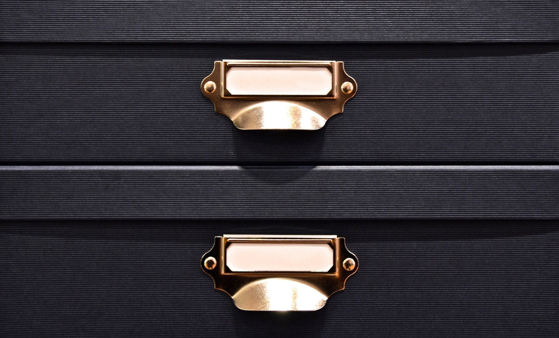 Close up image of black boxes for personal storage