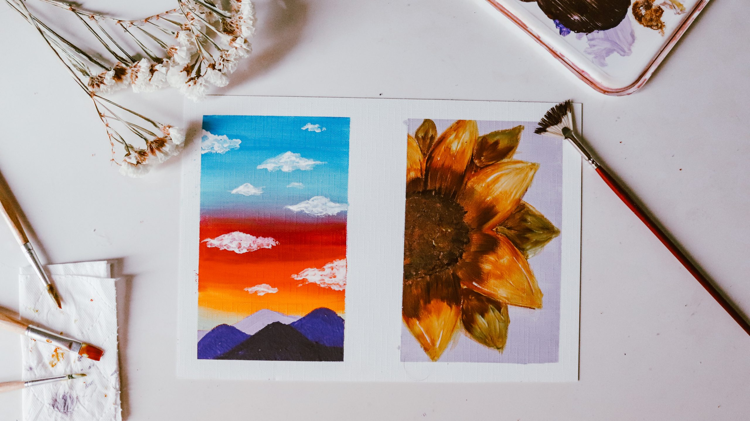 art canva with sky and sunflower